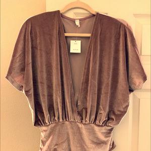 Urban Outfitters Velvet Plunge Bodysuit, New
